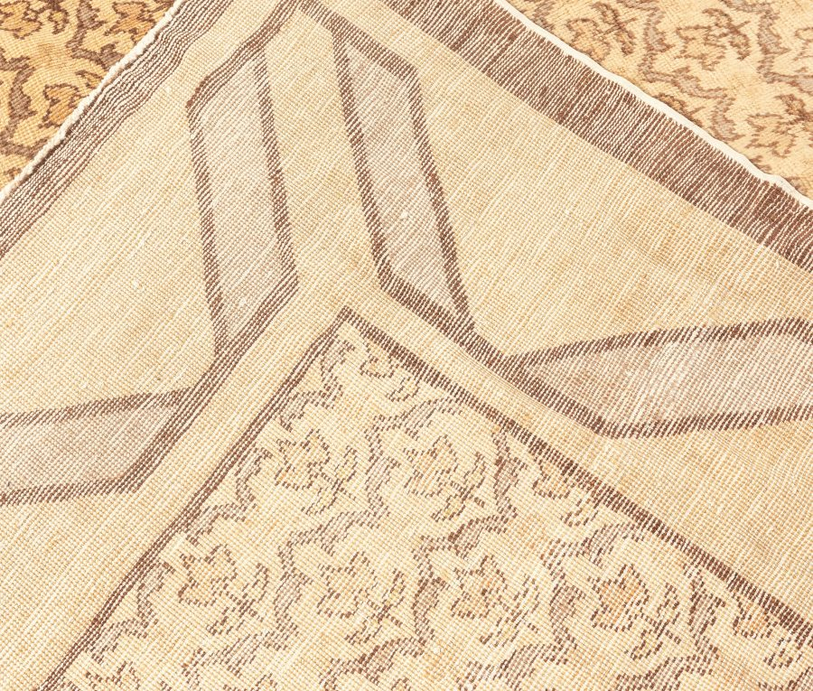 Midcentury Turkish Hereke Camel and Brown Handwoven Wool Rug BB5590
