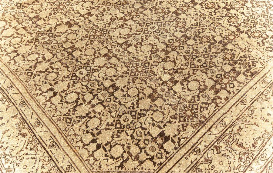 Antique Persian Tabriz Light & Dark Brown Handwoven Wool Rug BB5624