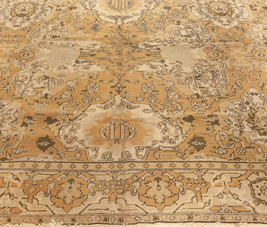 19th Century Indian Amritsar Ruddy Brown and Gray Handwoven Wool Rug BB5665