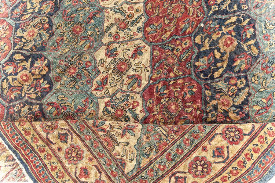 19th Century Kirman Bold Red, Dark and Light Blue Handwoven Wool Rug BB5719
