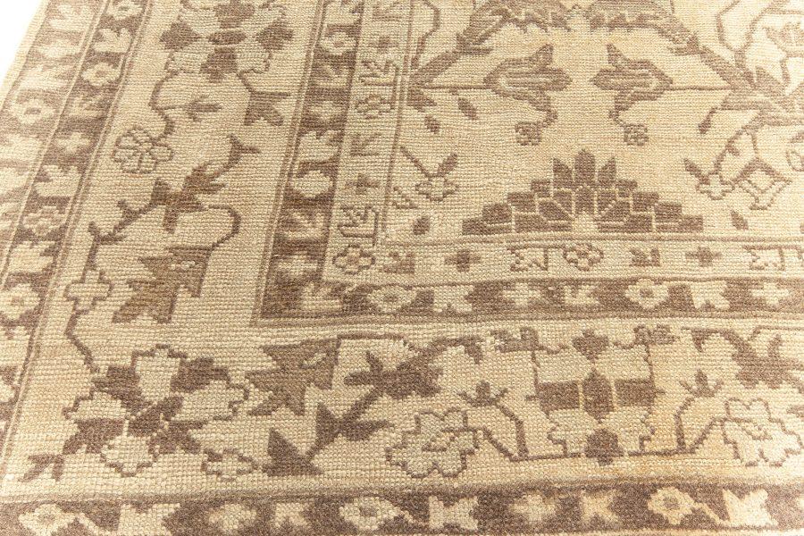 Antique Turkish Oushak Dark Brown and Light Beige Handwoven Wool Rug BB5727