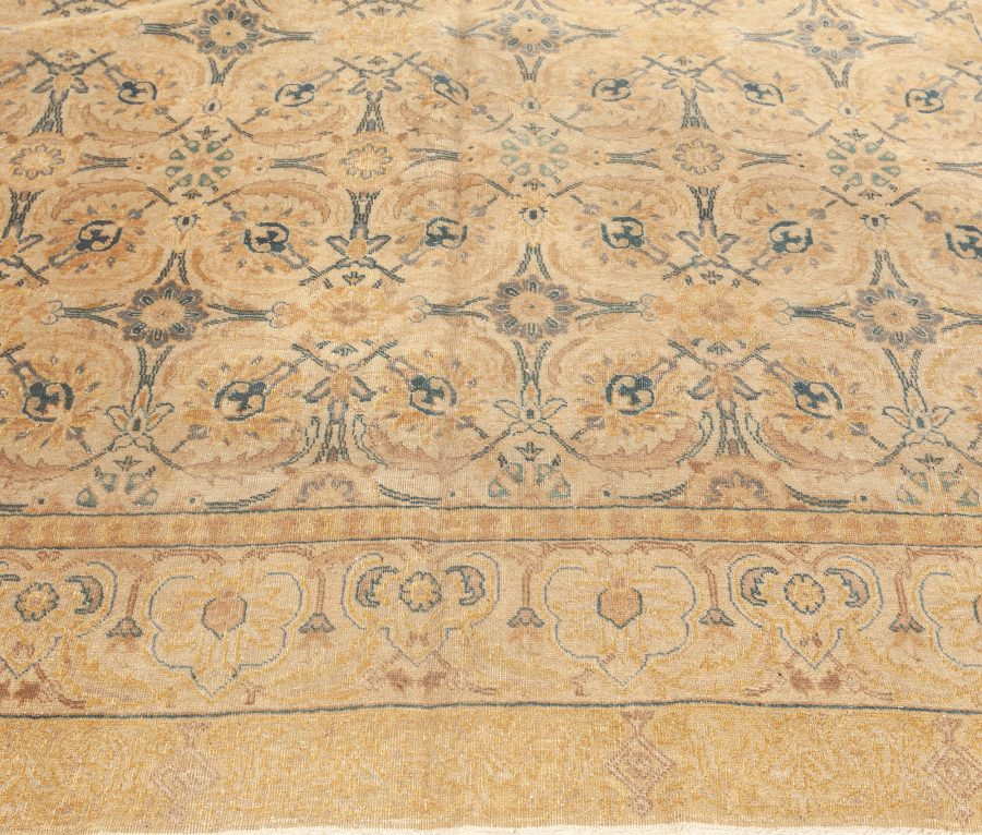 Antique Inky Blue, Soft Yellow and Beige Persian Tabriz Wool Rug BB5754