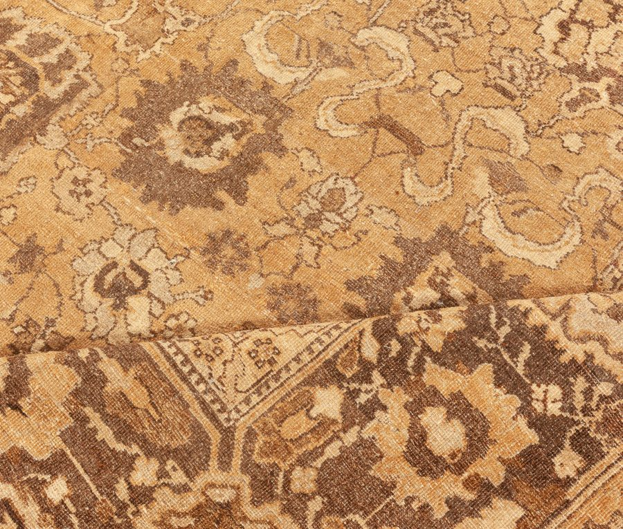 Antique Indian Amritsar Tan & Dark Brown Hand-knotted Wool Rug BB5769