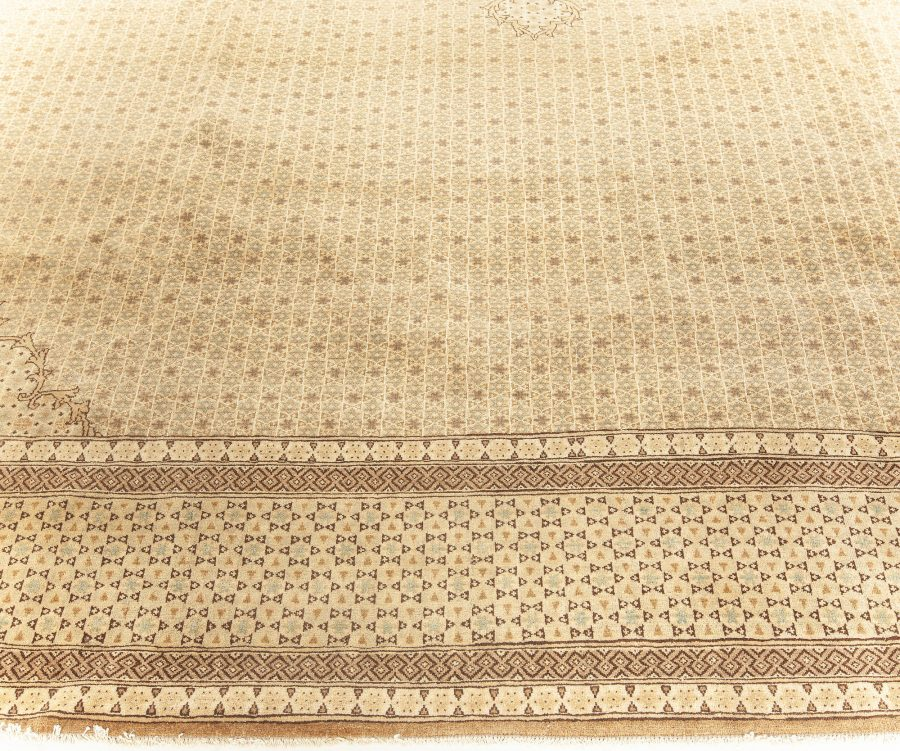 Antique Persian Ghom Beige and Brown Handwoven Wool Rug BB5771