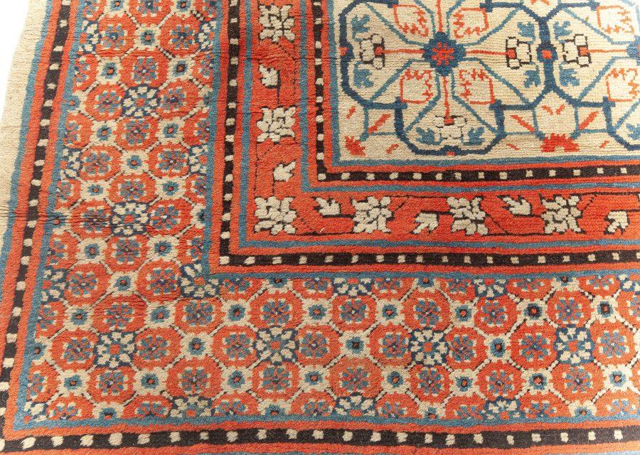 Samarkand Khotan Orange, Beige, Inky Blue and Light Blue Wool Rug BB5799