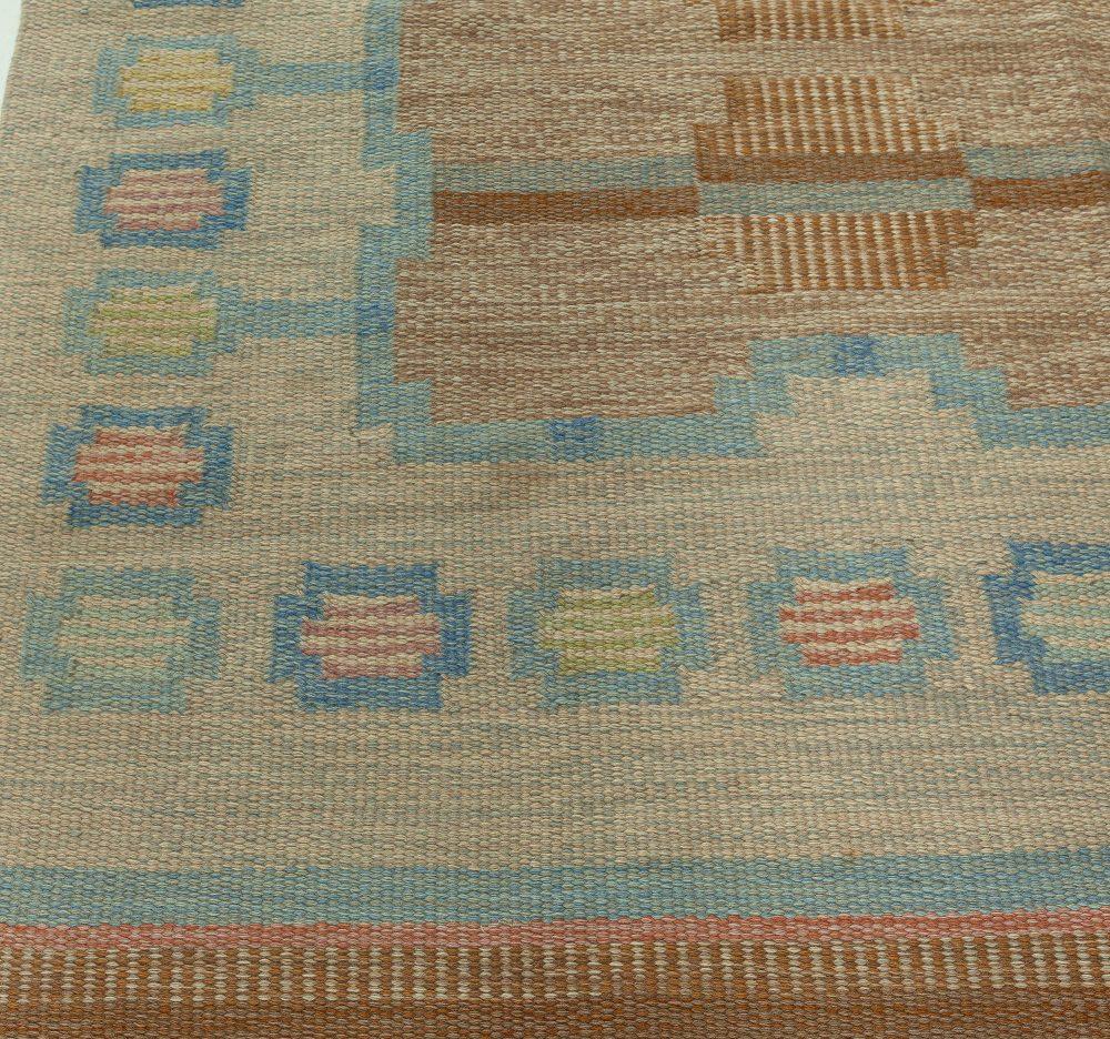 Vintage Swedish Flatweave Rug signed by (AGA) BB5910