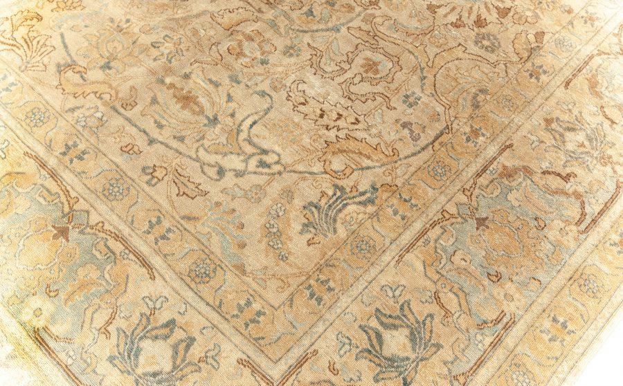 Tabriz Floral Brown, Light Beige and Blue Handwoven Wool Rug BB5913