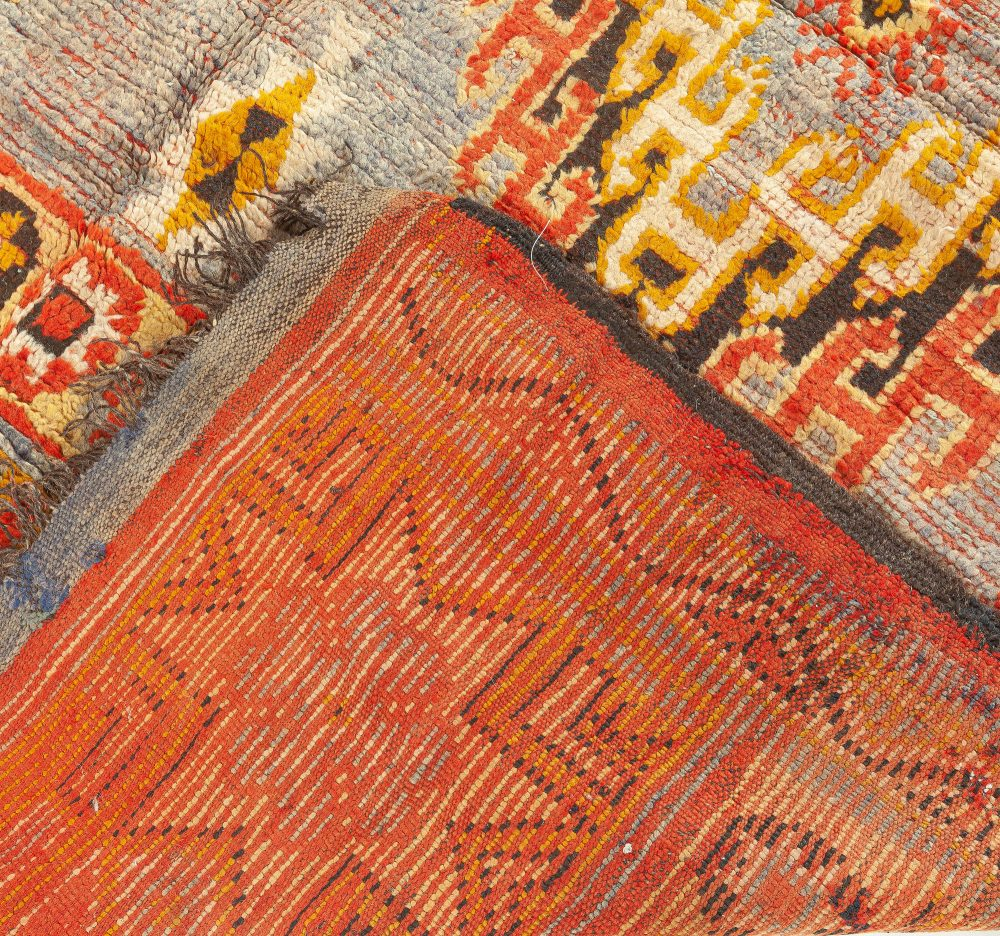 Vintage Moroccan Area Rug with Tribal Geometric Design on a Blue Background BB5941