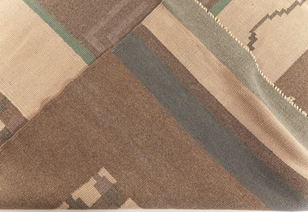"Vintage Scandinavian Flatweave Wool Rug. Woven initials and date to edge ""IO 1928"" BB6245"
