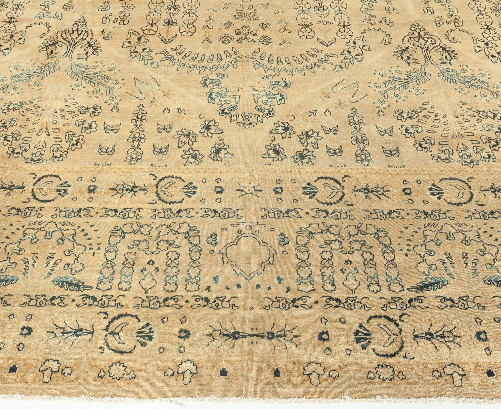 Antique Persian Kirman Camle, Black and Blue Handwoven Wool Rug BB6252
