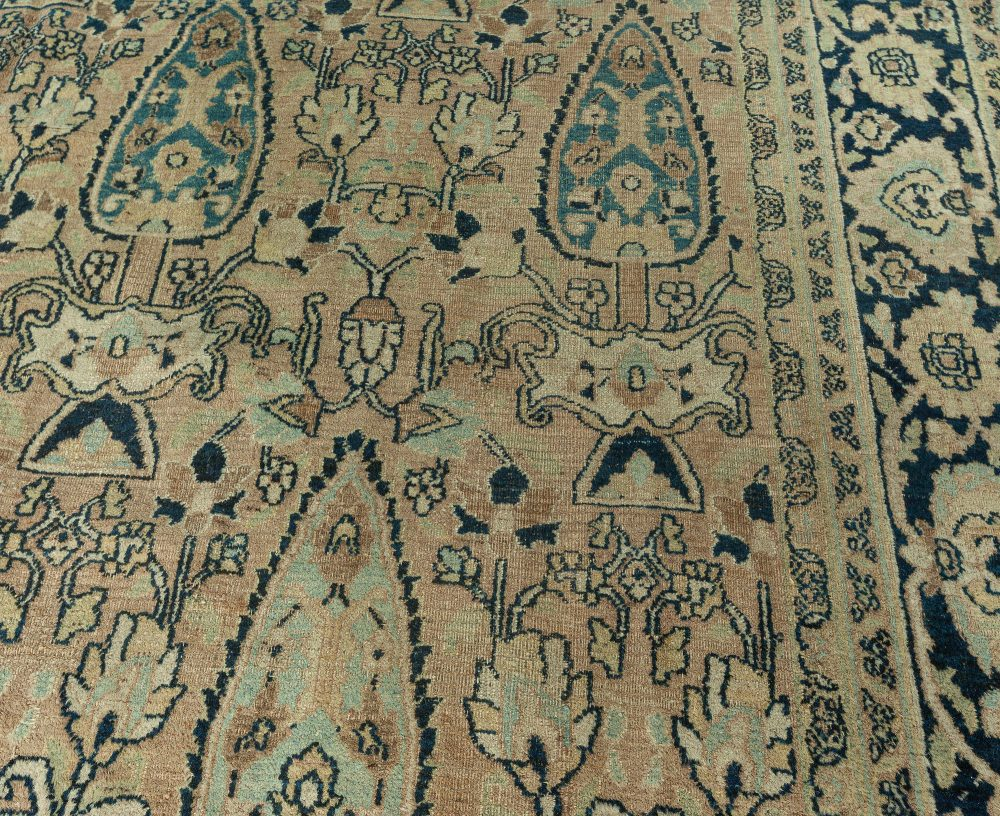 Antique Persian Meshad Warm Brown and Cool Blue Hand Knotted Wool Rug BB6264