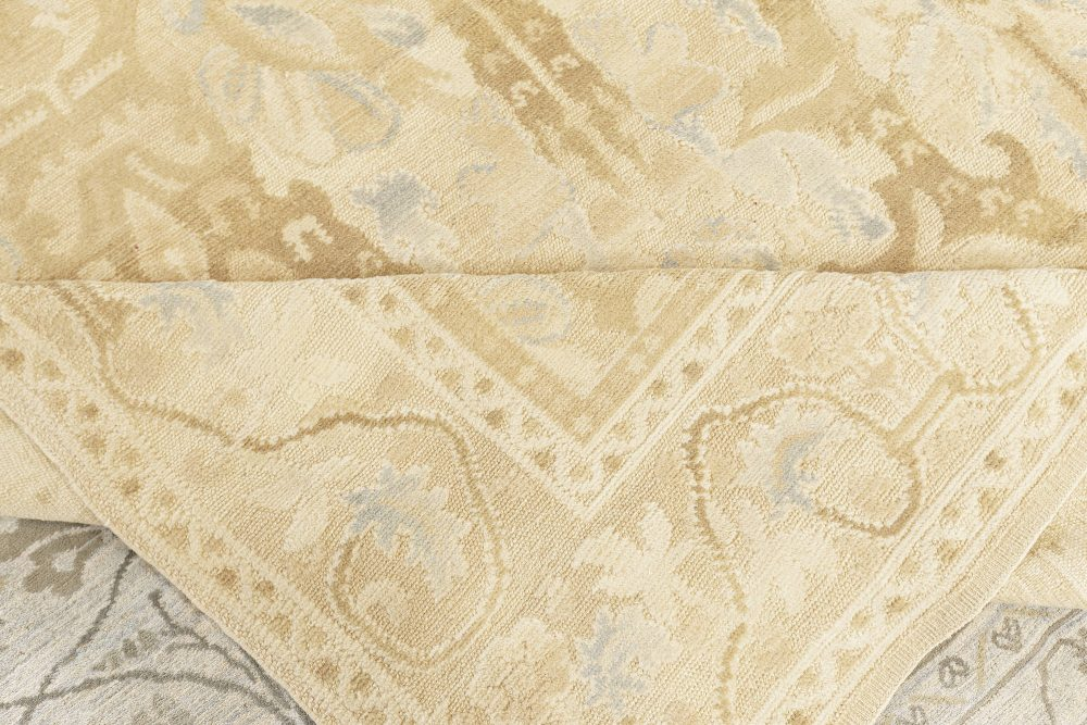 Contemporary Alhambra Design Beige and Blue Handwoven Wool Rug N10336