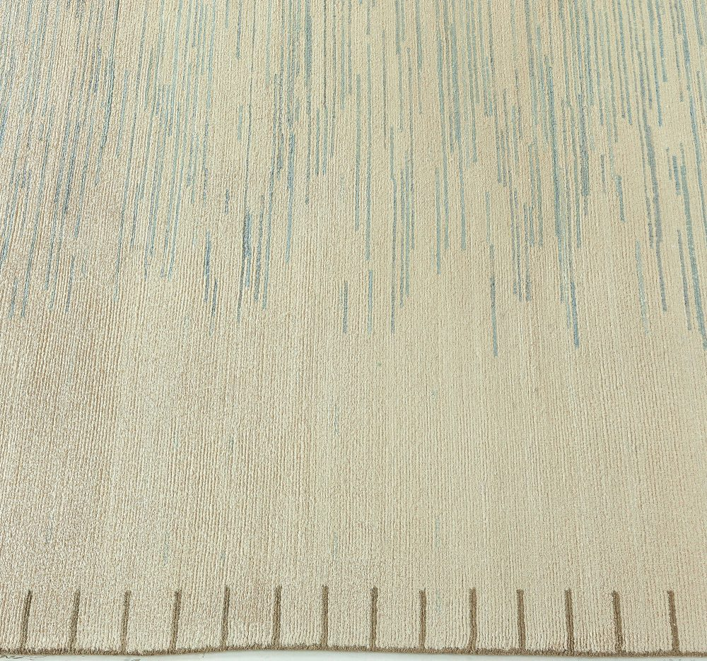 Modern Swedish Style Hand Knotted Wool and Silk Striped Rug N10375