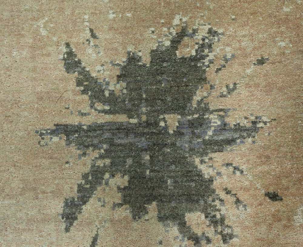 Contemporary Blue Splash Abstract Wool Rug N10601