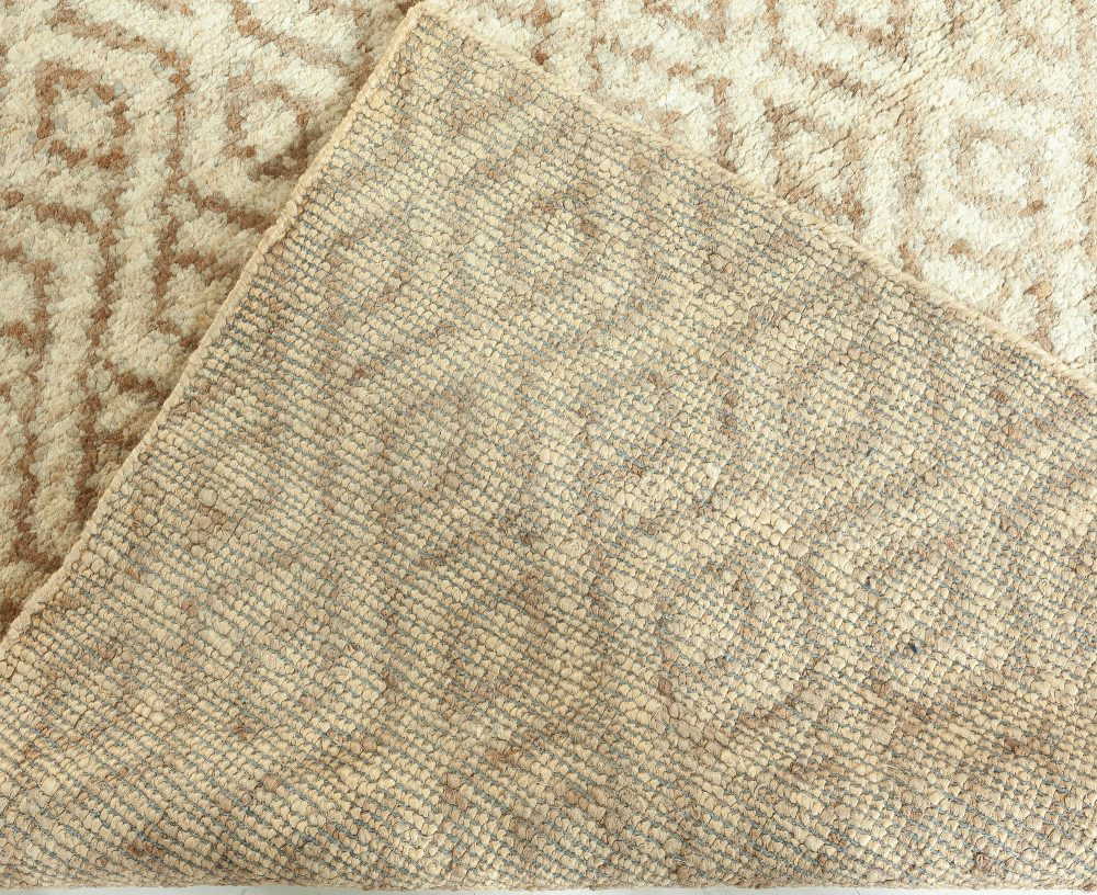 Modern Sacco Gold and Brown Hand Knotted Wool Rug N10675