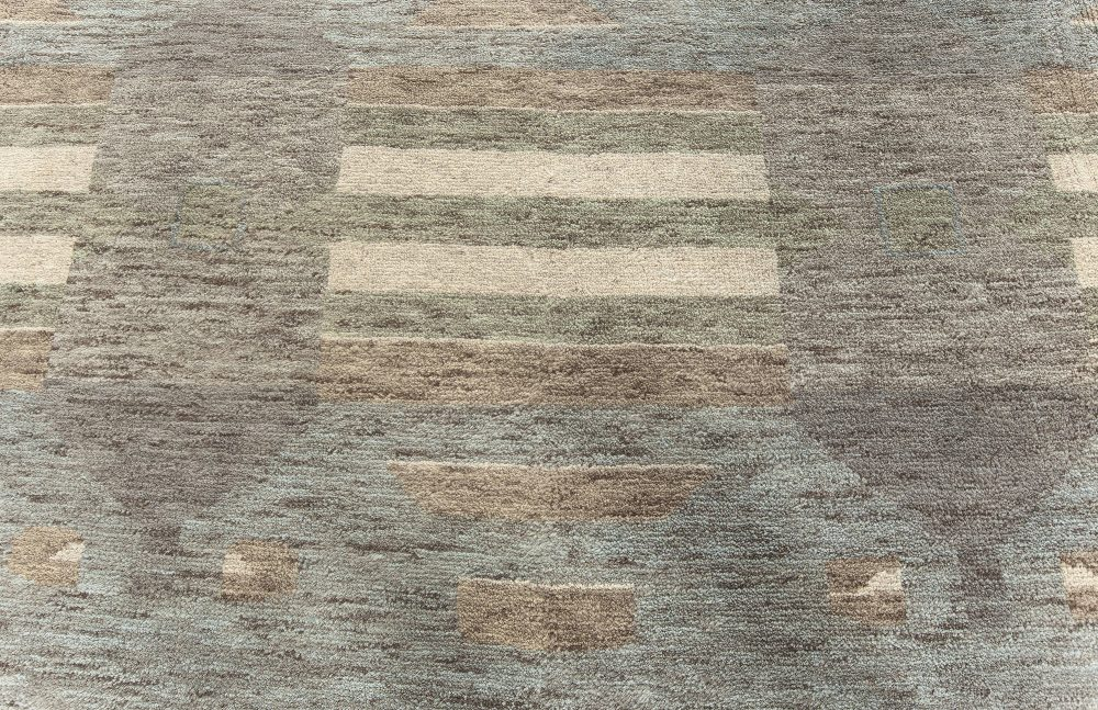 Contemporary Oversized Swedish Orebro Hand-knotted Wool Rug N10733