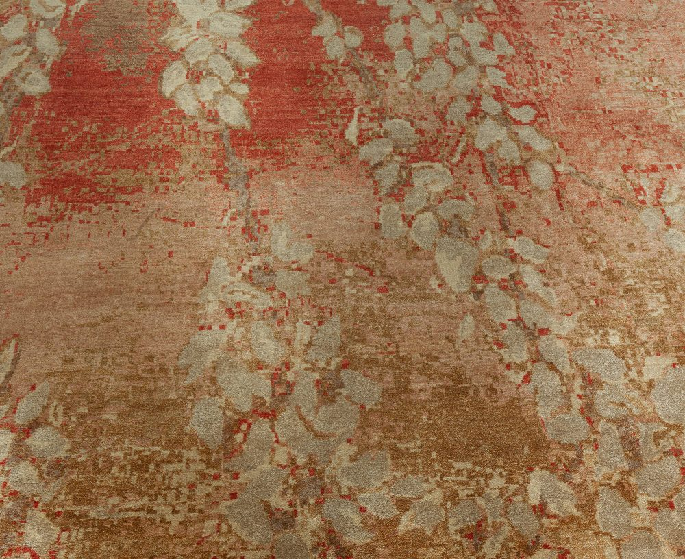21st Century Blossom Rug in Golden Beige, Carmine, Browns and Taupe N11162