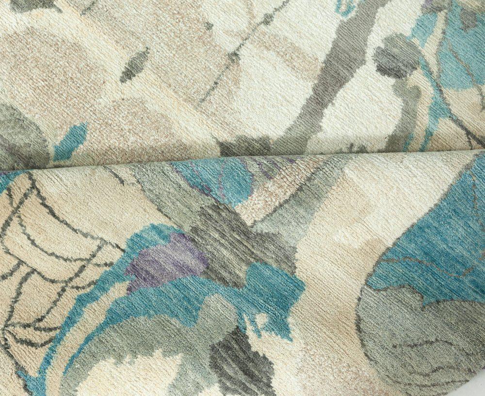 Eskayel Dynasty Turquoise, Brown, Sand Beige and Deep Purple Silk Rug N11265