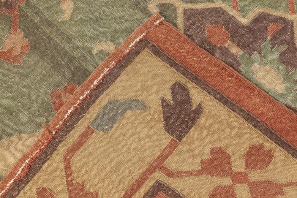 Dhurrie Red, Beige, Green and Brown Flat-Weave Wool Rug BB5370