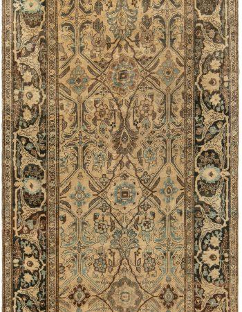 19th Century Persian Tabriz Silk Red and Navy Blue Rug BB6781
