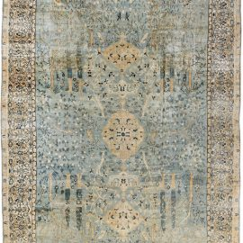 Vintage Indian Water Blue and Green Handwoven Wool Rug BB4923