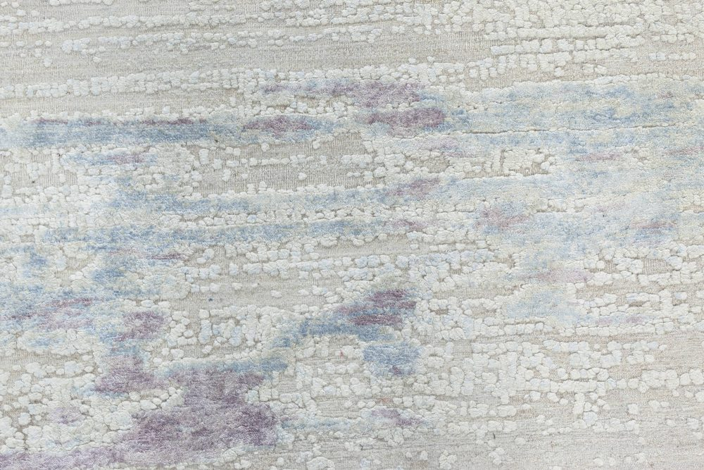 Contemporary Faint Blues Hand Knotted Silk, Wool & Cotton Rug N11339
