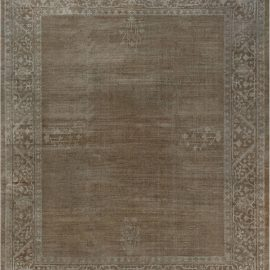 Antique Indian Amritsar Cocoa and Beige Handwoven Wool Rug BB7475