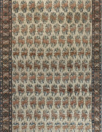 19th Century Persian Tabriz Silk Red and Navy Blue Rug BB6781