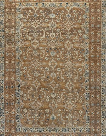 Antique Persian Tabriz Light Blue and Beige Handwoven Wool Rug BB6707