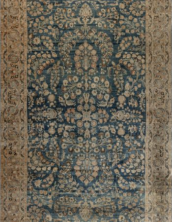 Vintage Indian Cotton Rug in Blue and Ivory BB6530