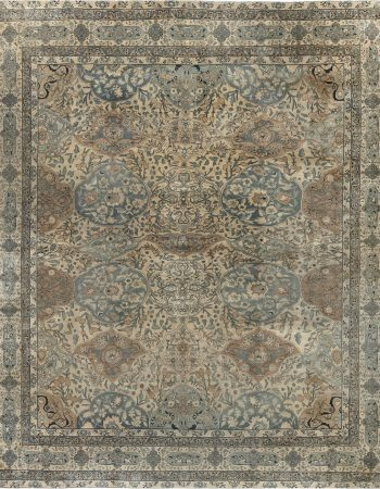 Persian Kirman Handwoven Wool Rug in Chocolate Brown and Cream BB6635