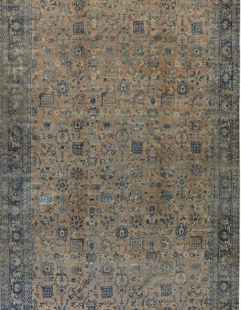 Antique Persian Tabriz Blue, Brown & Gold Handwoven Wool Rug BB7346