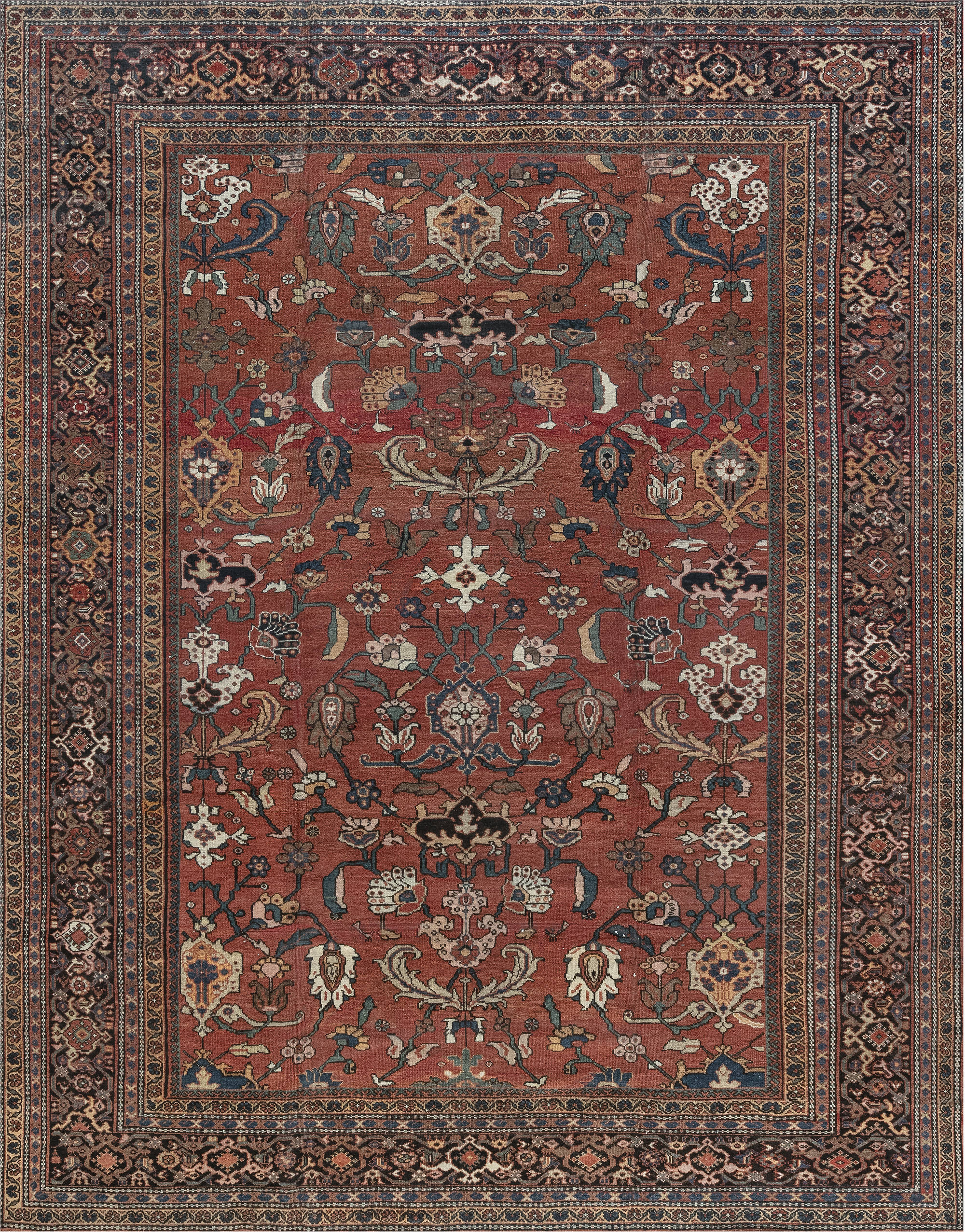 19th Century Persian Sultanabad Brick Red Handwoven Wool Rug BB7268