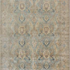 Persian Tabriz Light Blue, Cream and Rust Handwoven Wool Rug BB7158