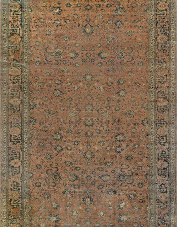 Antique Turkish Oushak Orange and Pale Pink Handwoven Wool Rug BB7174