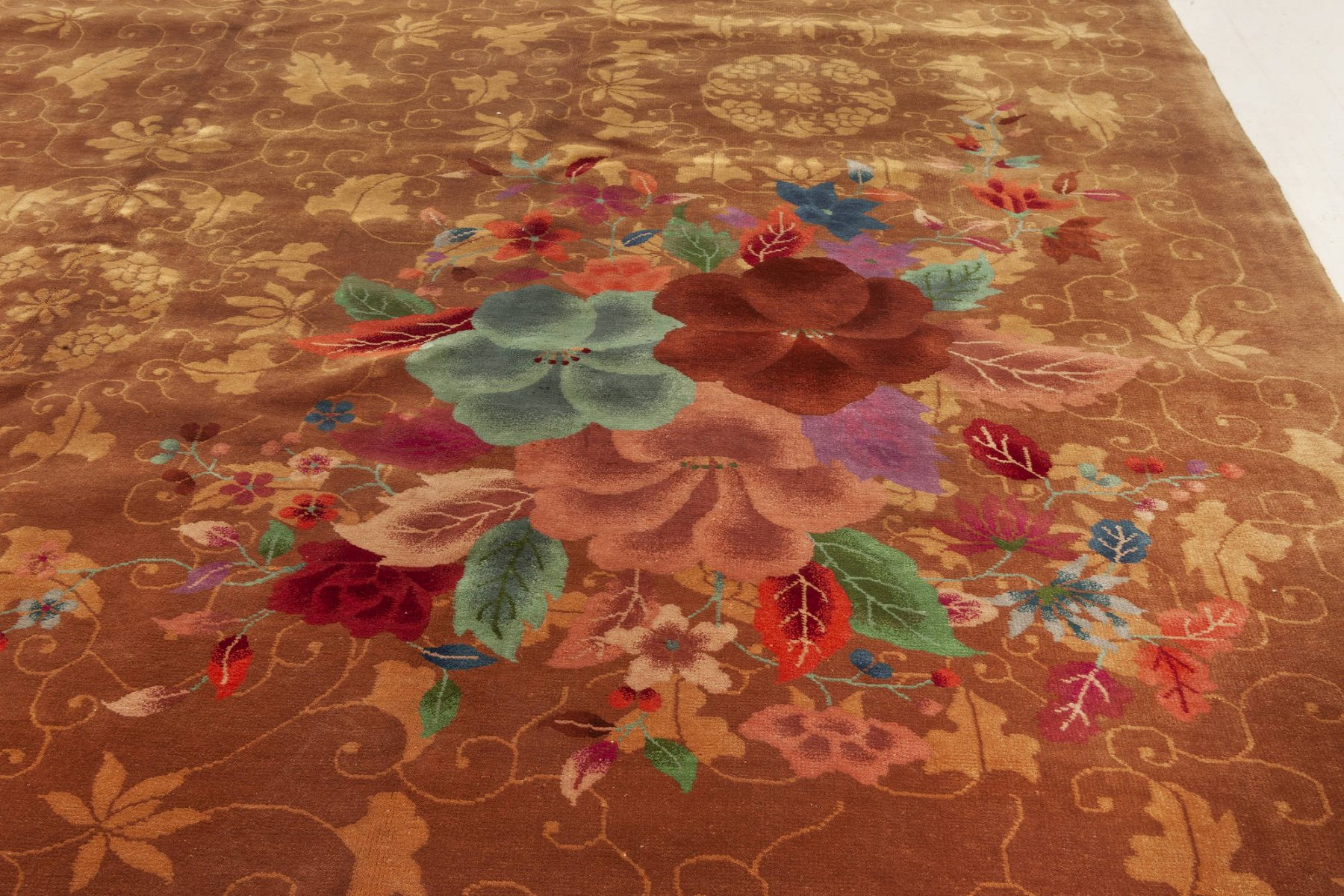 Vintage Chinese Art Deco Brown, Red, Green, Purple and Blue Rug BB3350