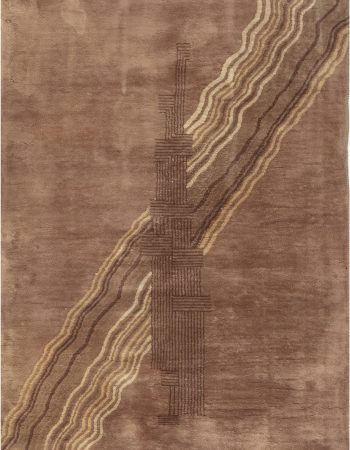 Midcentury Samarkand Blue and Brown Handwoven Wool Rug BB7008