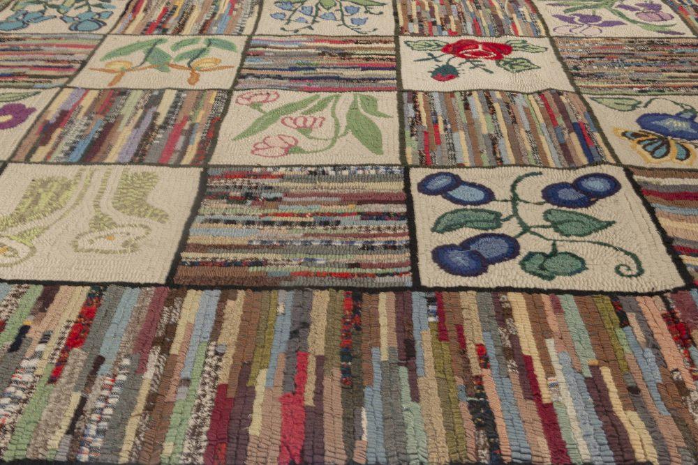 Midcentury Colorful American Hooked Wool Rug BB3578