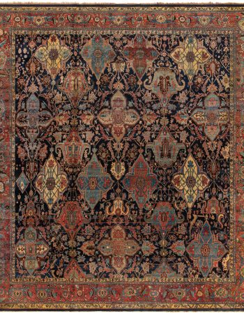 Antique Persian Tabriz Light Blue and Beige Handwoven Wool Rug BB6707