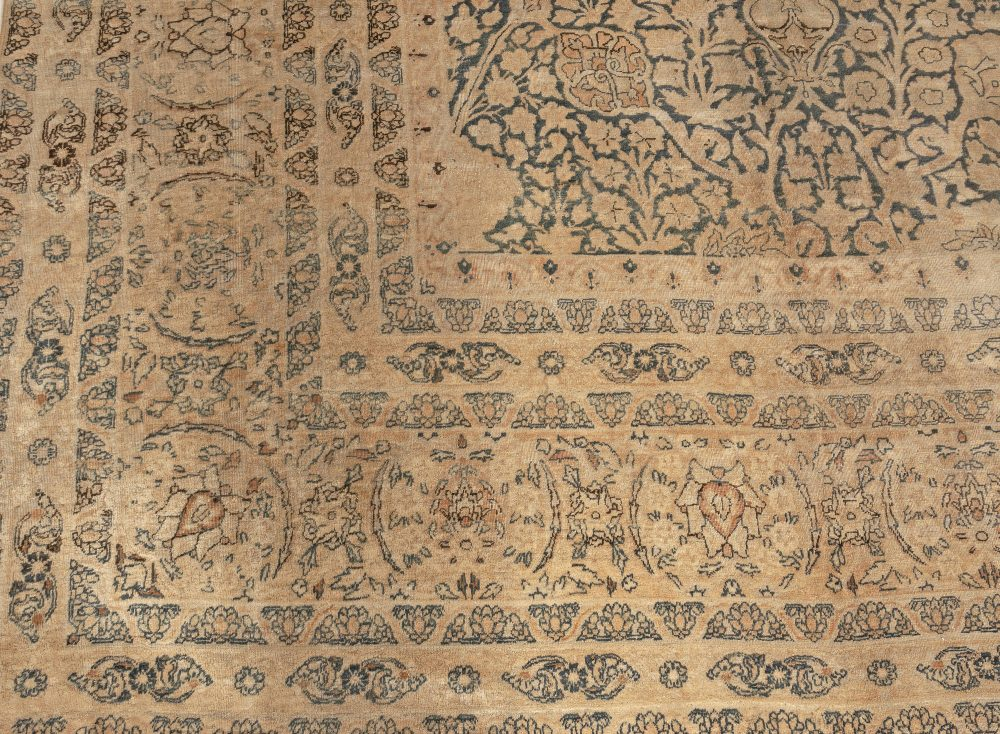 Antique Blue and Beige Persian Kirman Handwoven Wool Rug BB3502