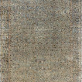 19th Century Persian Kirman Blue Handwoven Wool Carpet BB7133