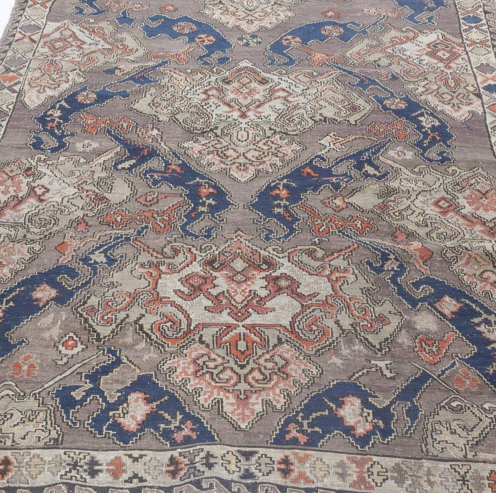 Russian Kilim Carpet in Palette of Blue, Beige, and Orange BB4287