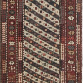 19th Century Caucasian Ivory, Red and Black Hand Knotted Wool Runner BB2779