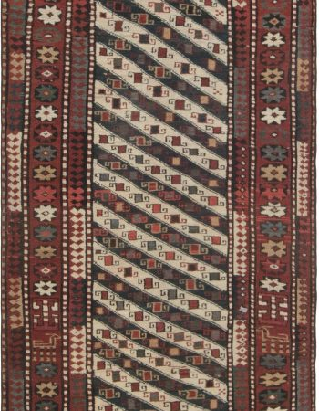 Vintage Turkish Beige, Brown and Ice Blue Flat-Woven Wool Runner BB5783