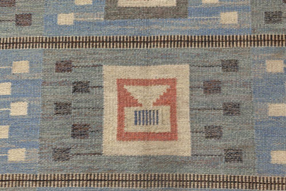 Midcentury Blue Flat-Woven Wool Swedish Rug by Edna Martin BB4722