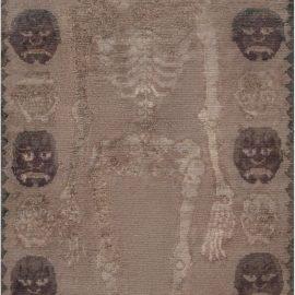 Antique Tibetan Beige and Dark Brown Handmade Wool Rug BB7437