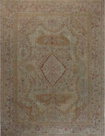 Antique Turkish Oushak Brown and White Wool Rug BB5347