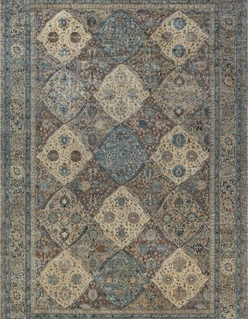 Persian Kirman Handwoven Wool Rug in Chocolate Brown and Cream BB6635