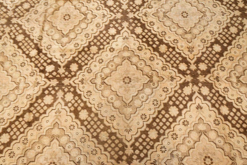 Vintage Samarkand Khotan Brown Hand Knotted Wool Rug BB7447