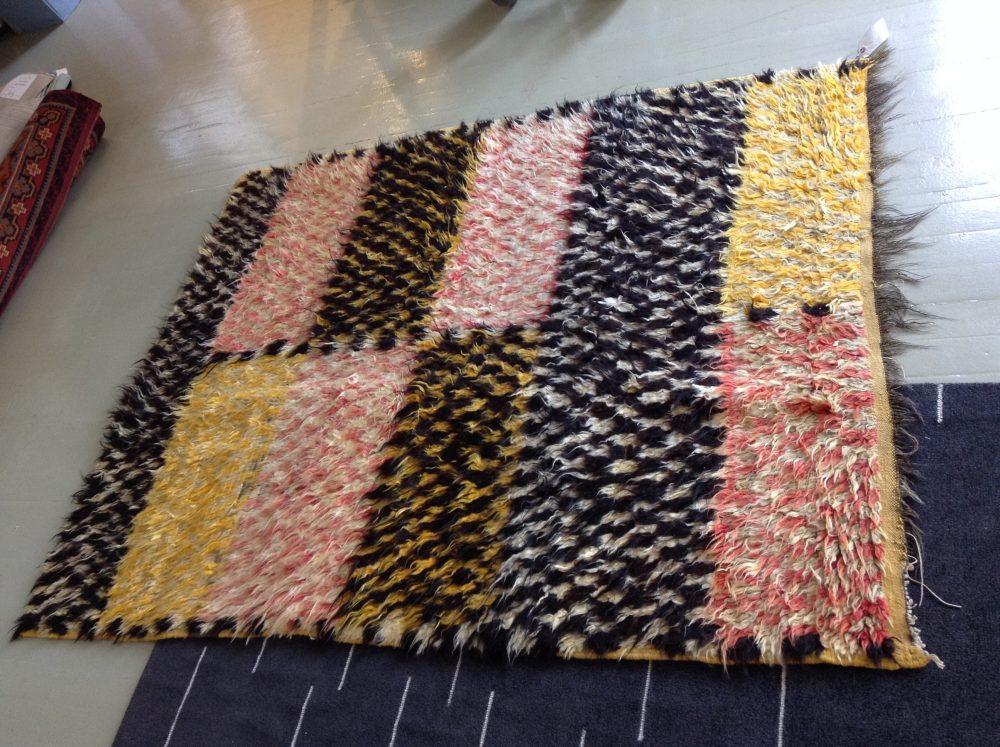 Vintage Mid-Century Handwoven Moroccan Shaggy Wool Rug BB5270